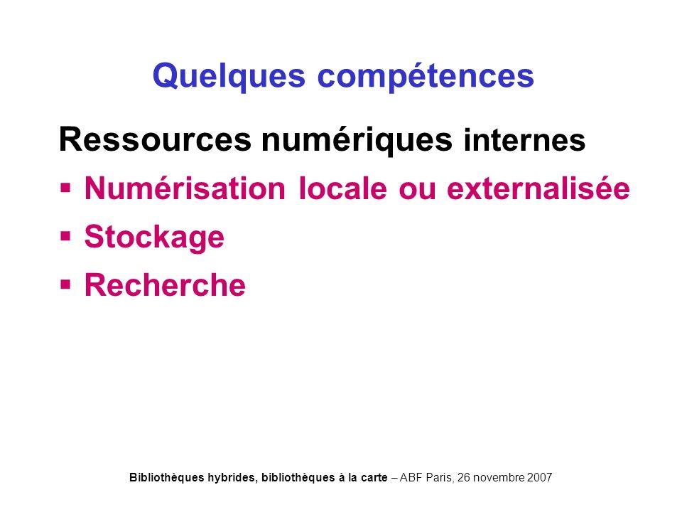 Bibliothèques hybrides, bibliothèques à la carte – ABF Paris, 26 novembre 2007 Ressources numériques internes Numérisation locale ou externalisée Stockage Recherche Quelques compétences