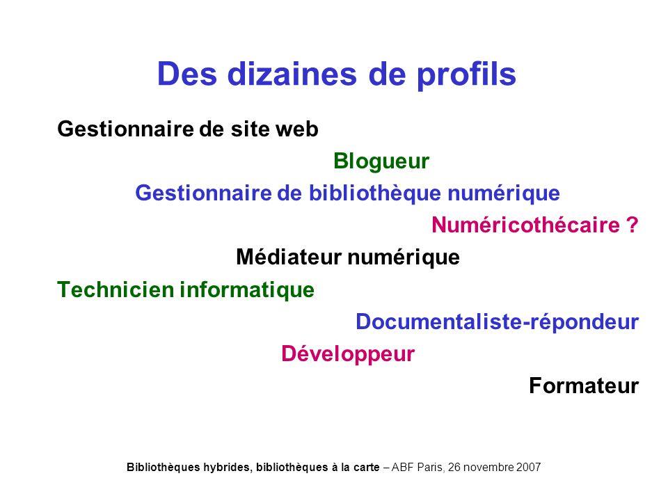 Bibliothèques hybrides, bibliothèques à la carte – ABF Paris, 26 novembre 2007 Gestionnaire de site web Blogueur Gestionnaire de bibliothèque numérique Numéricothécaire .