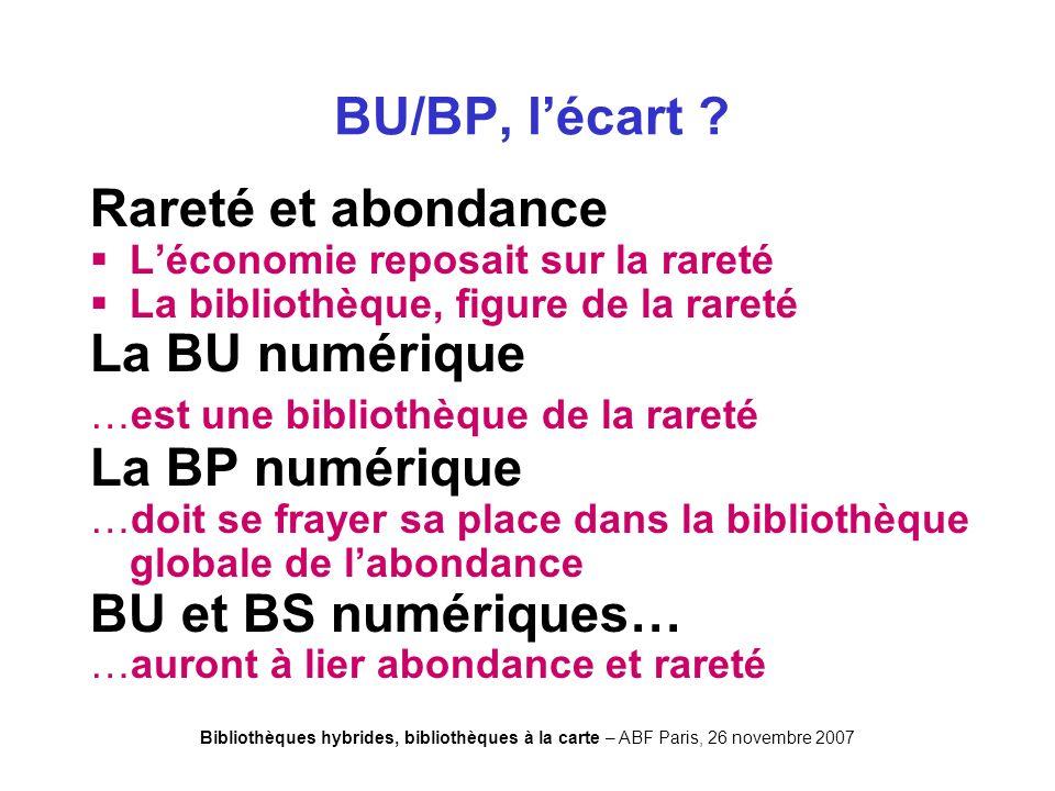 Bibliothèques hybrides, bibliothèques à la carte – ABF Paris, 26 novembre 2007 BU/BP, lécart .