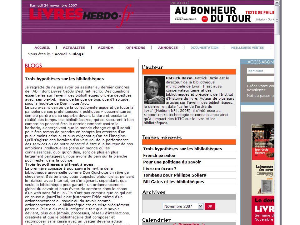 Bibliothèques hybrides, bibliothèques à la carte – ABF Paris, 26 novembre 2007 Bazin