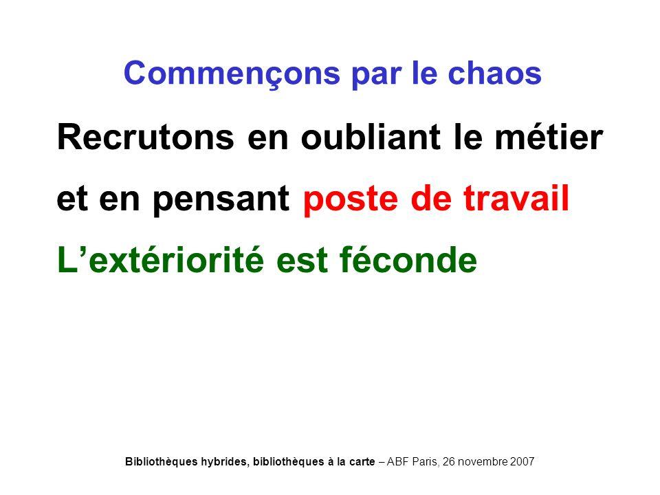 Bibliothèques hybrides, bibliothèques à la carte – ABF Paris, 26 novembre 2007 Recrutons en oubliant le métier et en pensant poste de travail Lextériorité est féconde Commençons par le chaos