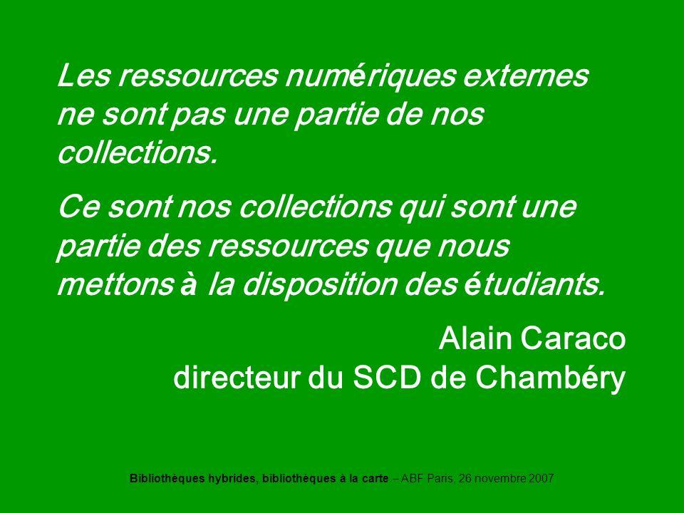 Bibliothèques hybrides, bibliothèques à la carte – ABF Paris, 26 novembre 2007 Caraco Les ressources num é riques externes ne sont pas une partie de nos collections.
