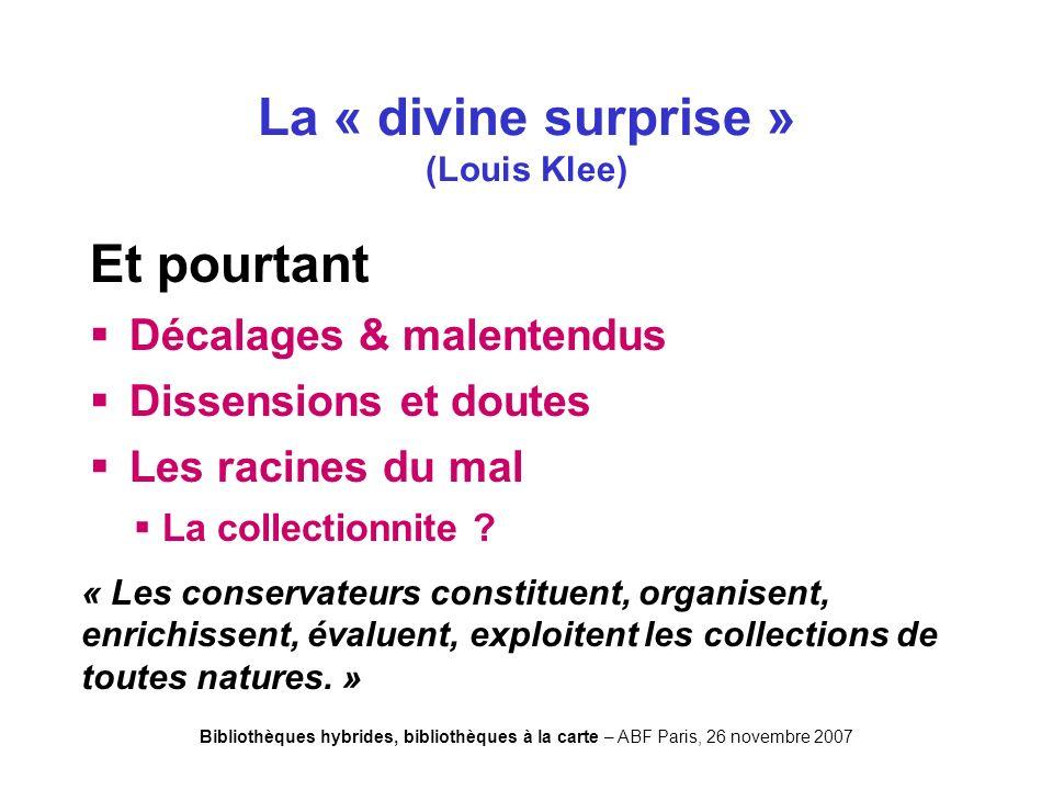 Bibliothèques hybrides, bibliothèques à la carte – ABF Paris, 26 novembre 2007 Nucourt