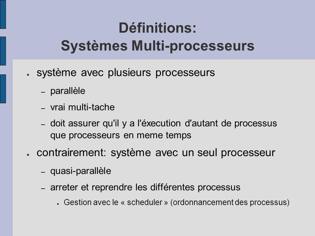 Définitions: Systèmes Multi-processeurs système avec plusieurs processeurs – parallèle – vrai multi-tache – doit assurer qu'il y a l'éxecution d'autan