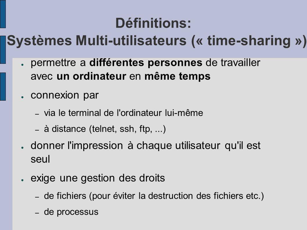 Définitions: Systèmes Multi-utilisateurs (« time-sharing ») permettre a différentes personnes de travailler avec un ordinateur en même temps connexion