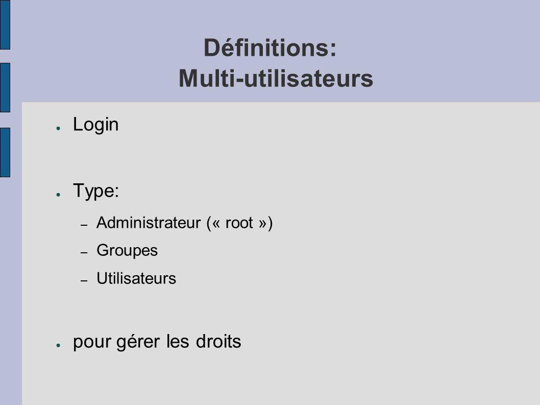 Définitions: Multi-utilisateurs Login Type: – Administrateur (« root ») – Groupes – Utilisateurs pour gérer les droits