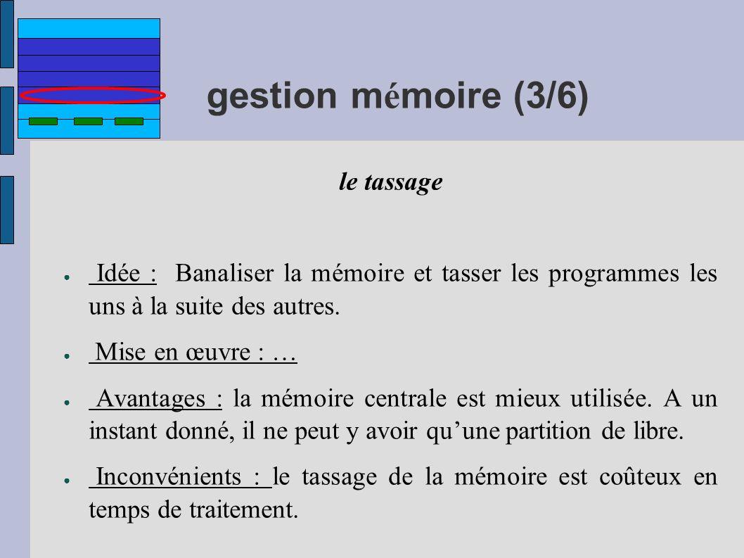 gestion m é moire (3/6) le tassage Idée : Banaliser la mémoire et tasser les programmes les uns à la suite des autres. Mise en œuvre : … Avantages : l