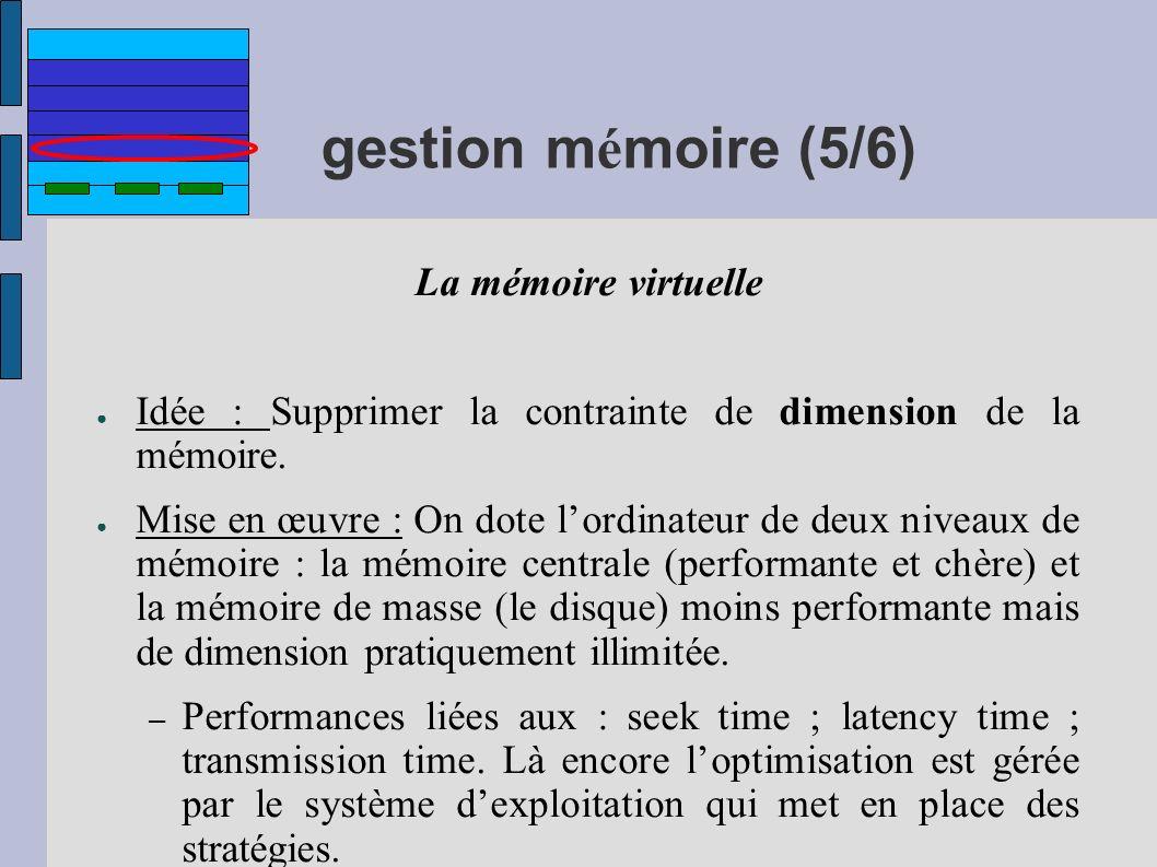 gestion m é moire (5/6) La mémoire virtuelle Idée : Supprimer la contrainte de dimension de la mémoire. Mise en œuvre : On dote lordinateur de deux ni