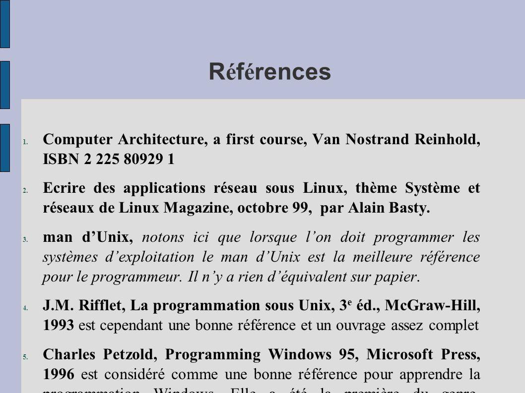 R é f é rences 1. Computer Architecture, a first course, Van Nostrand Reinhold, ISBN 2 225 80929 1 2. Ecrire des applications réseau sous Linux, thème