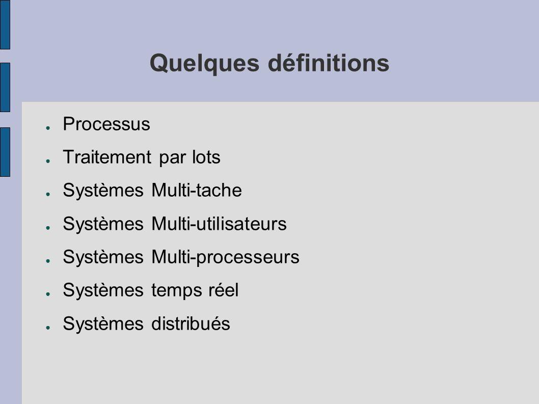 Historique (avant les Systèmes d Exploitations) 1945 - 55 : tubes et interrupteurs Pas de système d exploitation 1955 - 65 : transistors, cartes perforées Traitement par lots 1965 - 80 : circuits intégrés, disques Multiprogrammation, temps-partagé, entrées/sorties Unix, version BSD, AT&T, interface POSIX 1980 -- : ordinateurs personnels (PC) Interface graphique (concept crée vers 1960, Stanford) Réseaux et systèmes distribués --> Système d exploitation nécéssaire