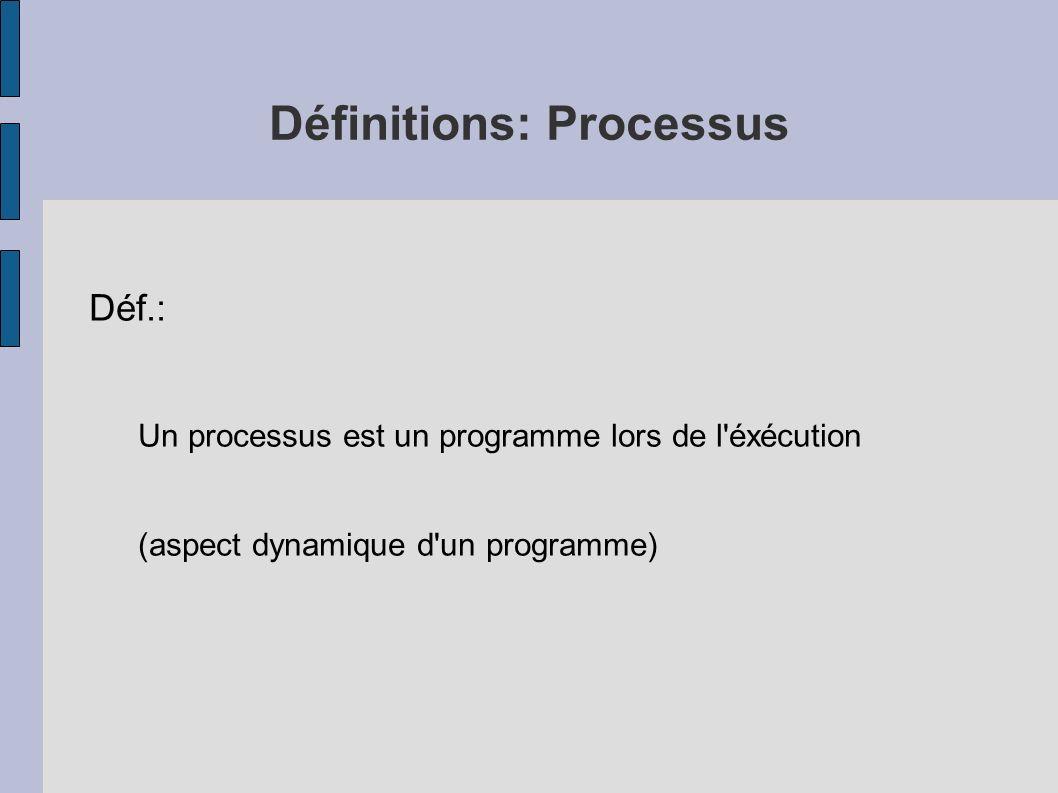 Définitions: Processus Déf.: Un processus est un programme lors de l'éxécution (aspect dynamique d'un programme)