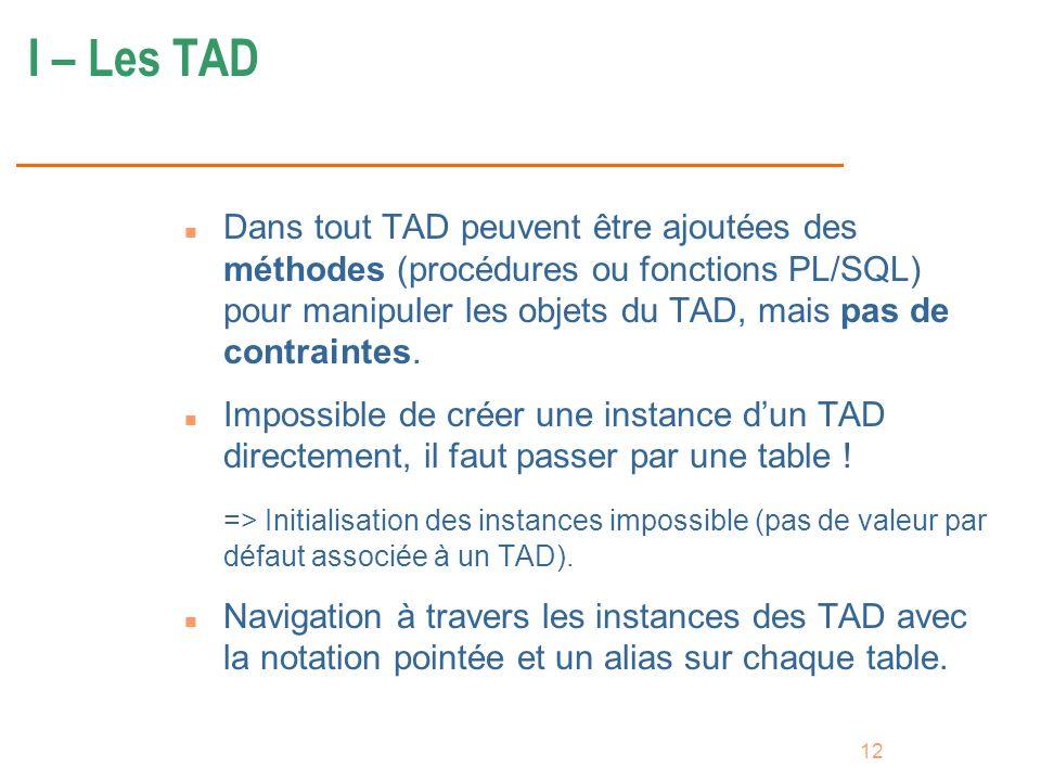 12 I – Les TAD n Dans tout TAD peuvent être ajoutées des méthodes (procédures ou fonctions PL/SQL) pour manipuler les objets du TAD, mais pas de contr