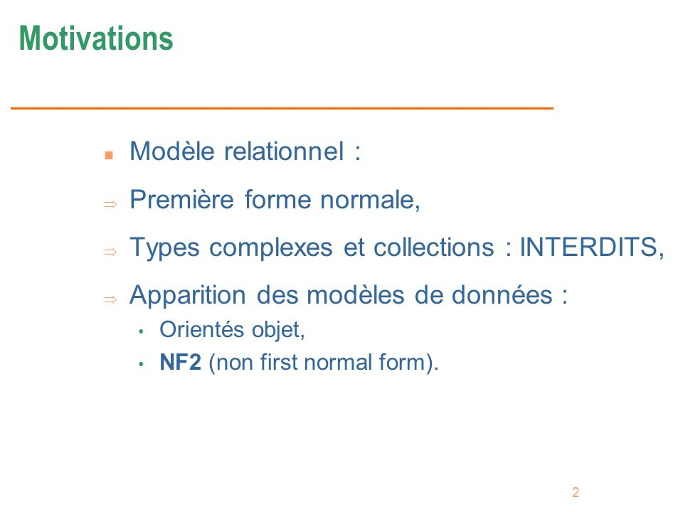 43 Mise à jour avec références Create typeas object Create table REF n Soit la table suivante : Create type Tadresse as object (ville varchar(15), rue varchar(15)) / Create table personnes (nom varchar(15), prenoms liste_prenom, adresse Tadresse, date_naissance Date, voiture REF Tvoiture); updateset where n Modifier ladresse : update personnes p set p.adresse.rue = Comédie where p.adresse.ville = Montpellier; updateset fromwhere n Changer de voiture : update personnes p set p.voiture = (select REF(v) from voitures v where v.modele = Mégane) where p.voiture.annee = 1975; n Attention : modifier une voiture à travers une personne est impossible !