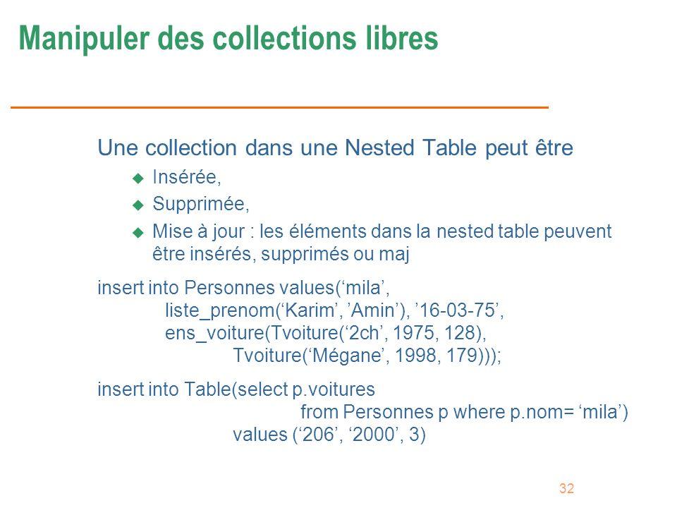32 Manipuler des collections libres Une collection dans une Nested Table peut être u Insérée, u Supprimée, u Mise à jour : les éléments dans la nested