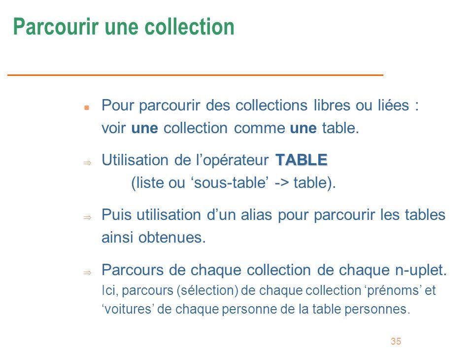 35 Parcourir une collection n Pour parcourir des collections libres ou liées : voir une collection comme une table. TABLE Utilisation de lopérateur TA