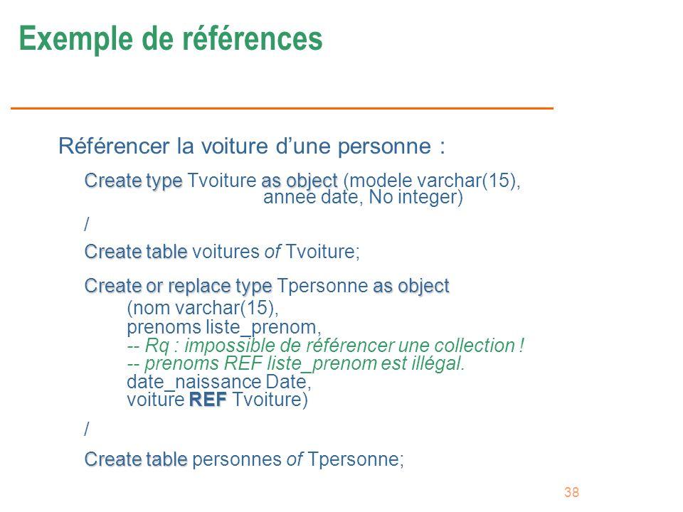 38 Exemple de références Référencer la voiture dune personne : Create typeas object Create type Tvoiture as object (modele varchar(15), annee date, No