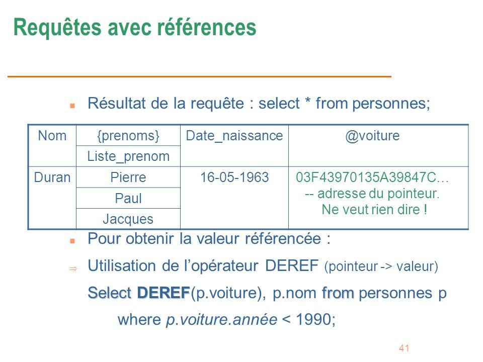 41 Requêtes avec références n Résultat de la requête : select * from personnes; n Pour obtenir la valeur référencée : Utilisation de lopérateur DEREF