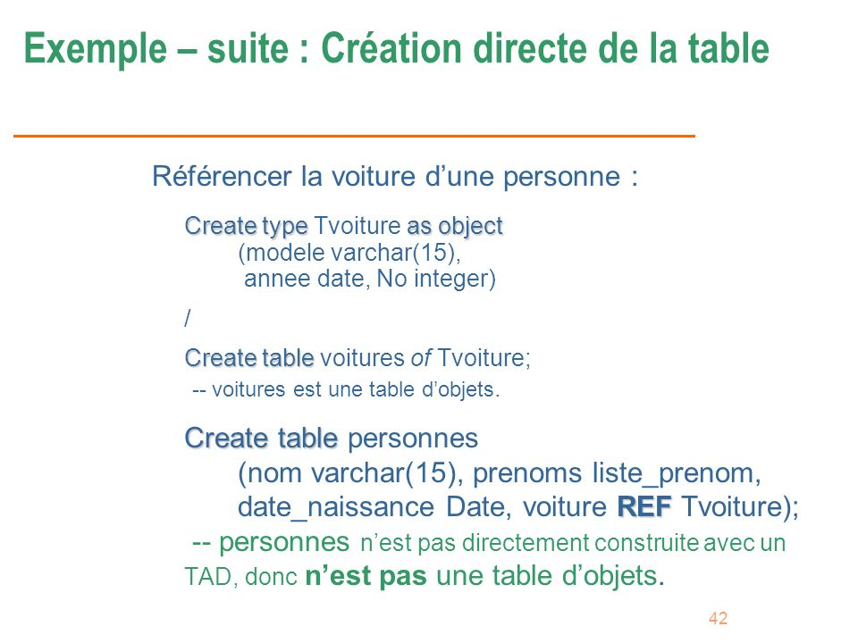 42 Exemple – suite : Création directe de la table Référencer la voiture dune personne : Create typeas object Create type Tvoiture as object (modele va