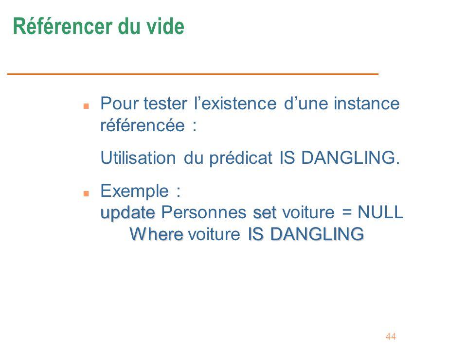 44 Référencer du vide n Pour tester lexistence dune instance référencée : Utilisation du prédicat IS DANGLING. updateset WhereIS DANGLING n Exemple :