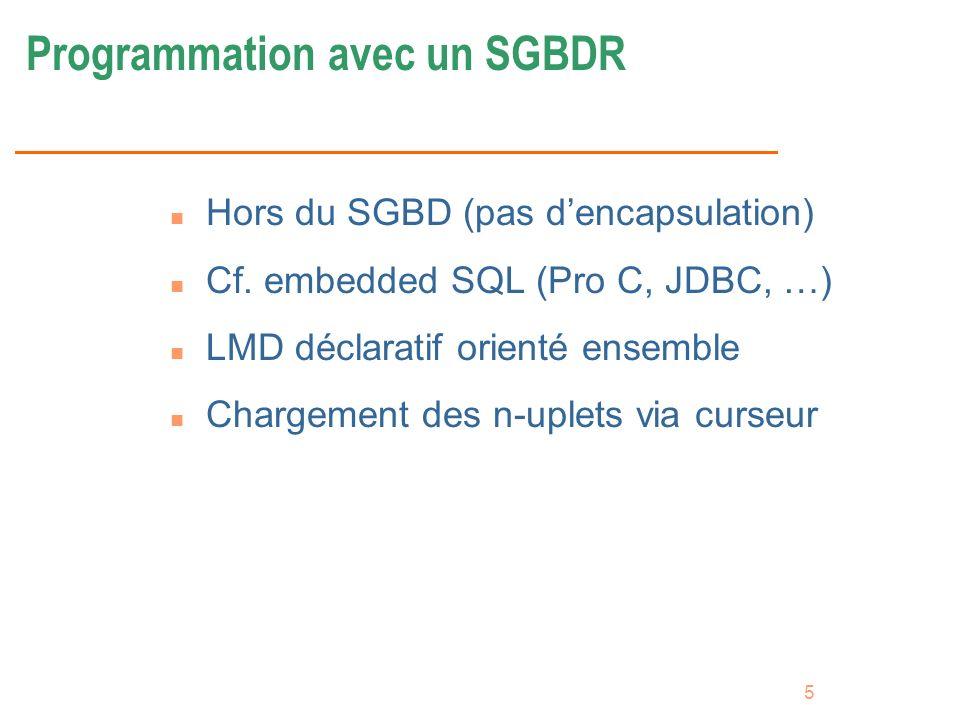 5 Programmation avec un SGBDR n Hors du SGBD (pas dencapsulation) n Cf. embedded SQL (Pro C, JDBC, …) n LMD déclaratif orienté ensemble n Chargement d