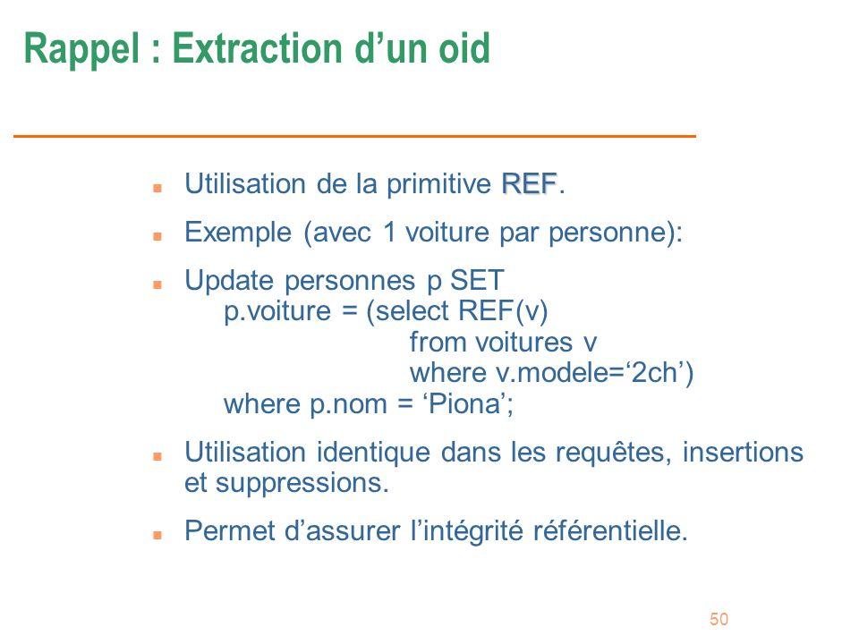 50 Rappel : Extraction dun oid REF n Utilisation de la primitive REF. n Exemple (avec 1 voiture par personne): n Update personnes p SET p.voiture = (s