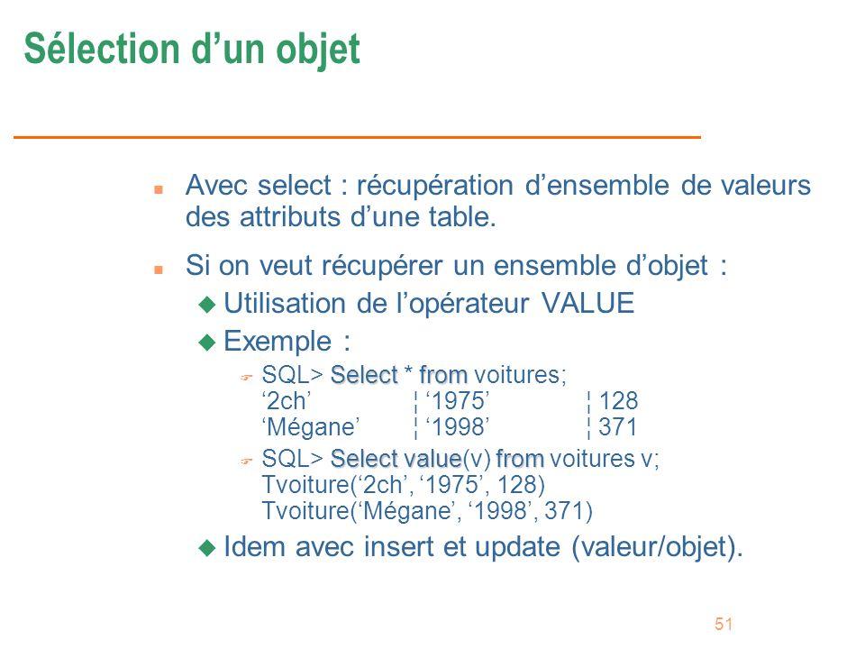 51 Sélection dun objet n Avec select : récupération densemble de valeurs des attributs dune table. n Si on veut récupérer un ensemble dobjet : u Utili