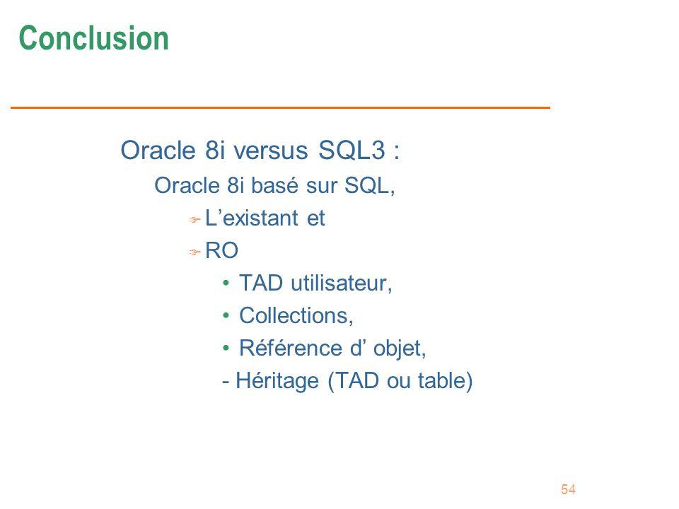 54 Conclusion Oracle 8i versus SQL3 : Oracle 8i basé sur SQL, F Lexistant et F RO TAD utilisateur, Collections, Référence d objet, - Héritage (TAD ou