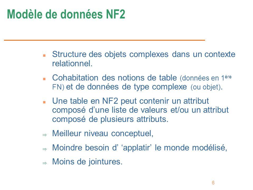 6 Modèle de données NF2 n Structure des objets complexes dans un contexte relationnel. n Cohabitation des notions de table (données en 1 ère FN) et de