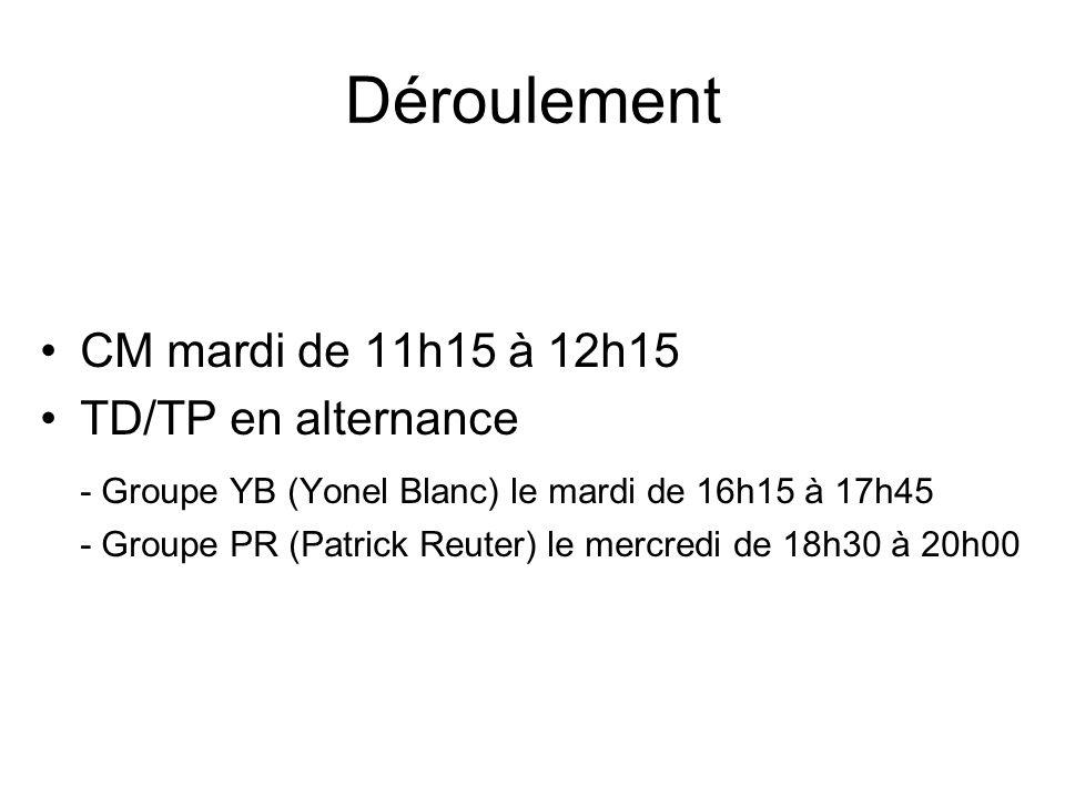 Déroulement CM mardi de 11h15 à 12h15 TD/TP en alternance - Groupe YB (Yonel Blanc) le mardi de 16h15 à 17h45 - Groupe PR (Patrick Reuter) le mercredi