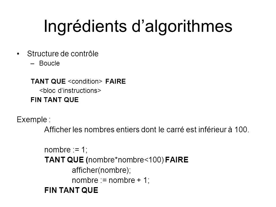 Ingrédients dalgorithmes Structure de contrôle –Boucle TANT QUE FAIRE FIN TANT QUE Exemple : Afficher les nombres entiers dont le carré est inférieur