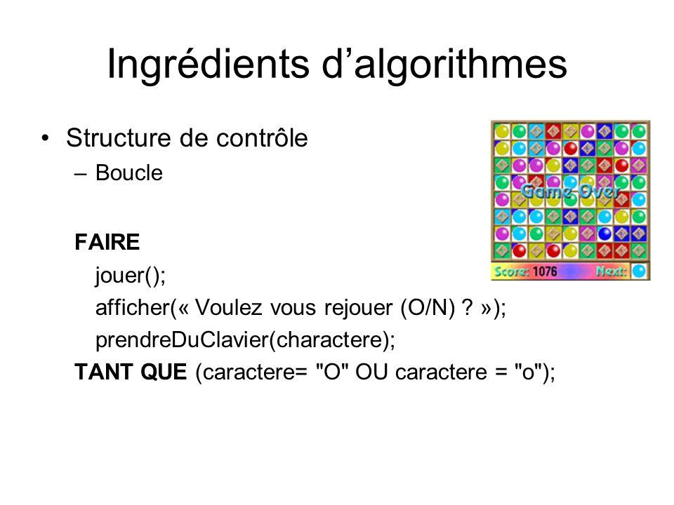 Ingrédients dalgorithmes Structure de contrôle –Boucle FAIRE jouer(); afficher(« Voulez vous rejouer (O/N) ? »); prendreDuClavier(charactere); TANT QU