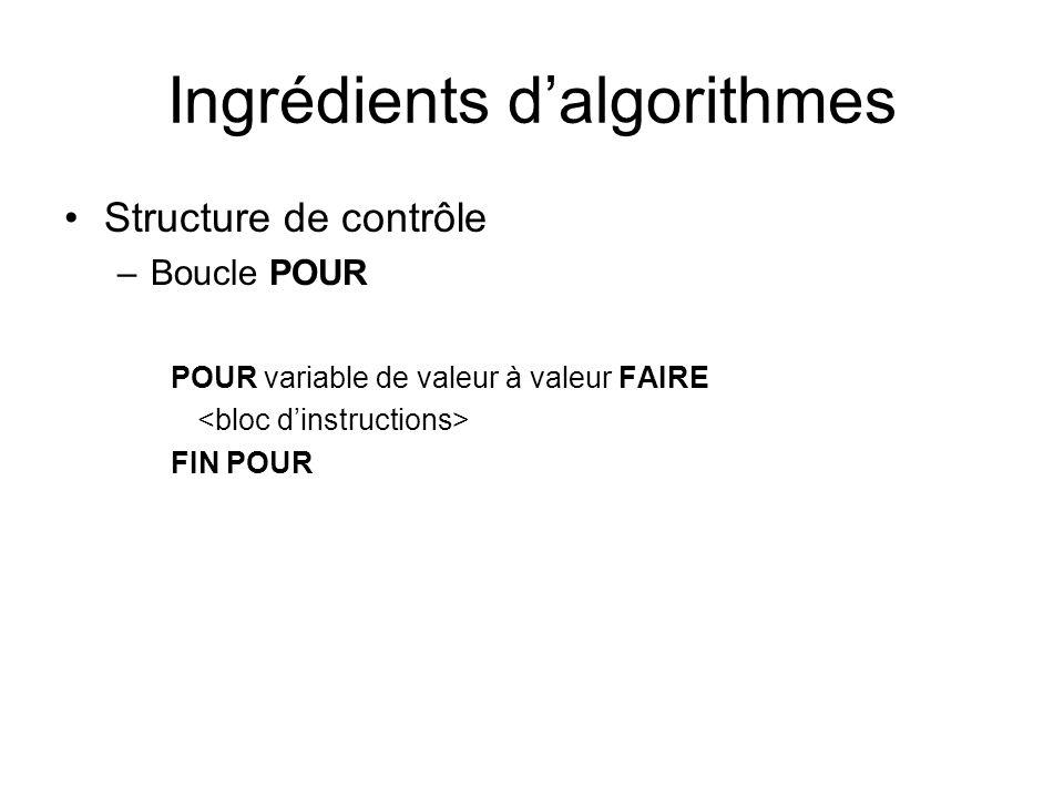 Ingrédients dalgorithmes Structure de contrôle –Boucle POUR POUR variable de valeur à valeur FAIRE FIN POUR