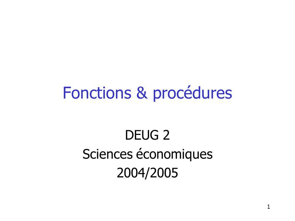 1 Fonctions & procédures DEUG 2 Sciences économiques 2004/2005