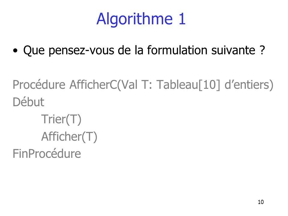 10 Algorithme 1 Que pensez-vous de la formulation suivante ? Procédure AfficherC(Val T: Tableau[10] dentiers) Début Trier(T) Afficher(T) FinProcédure
