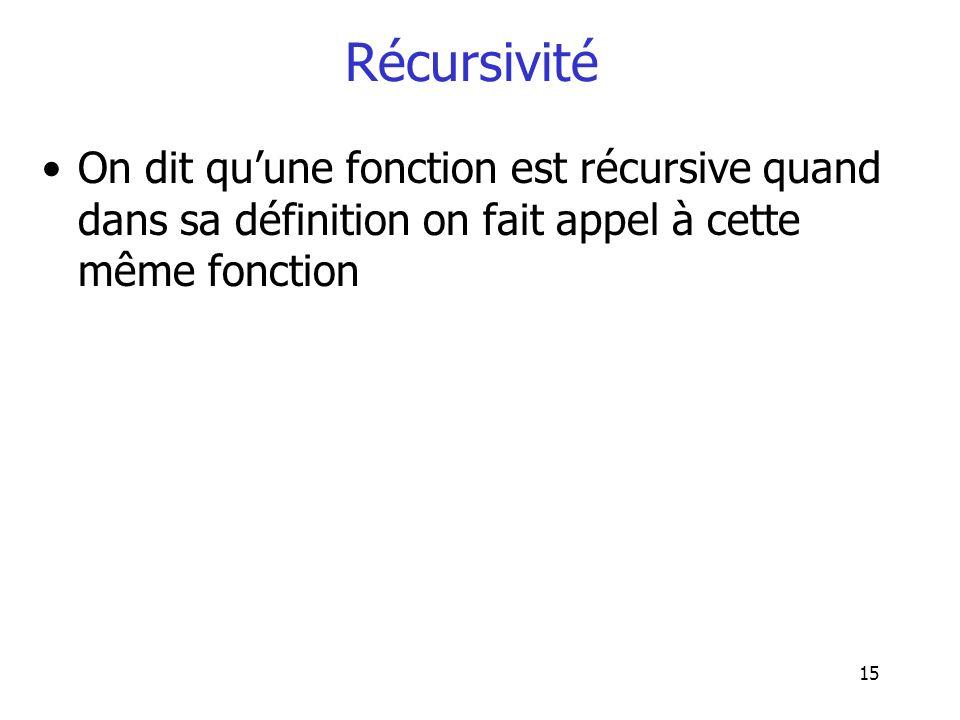 15 Récursivité On dit quune fonction est récursive quand dans sa définition on fait appel à cette même fonction
