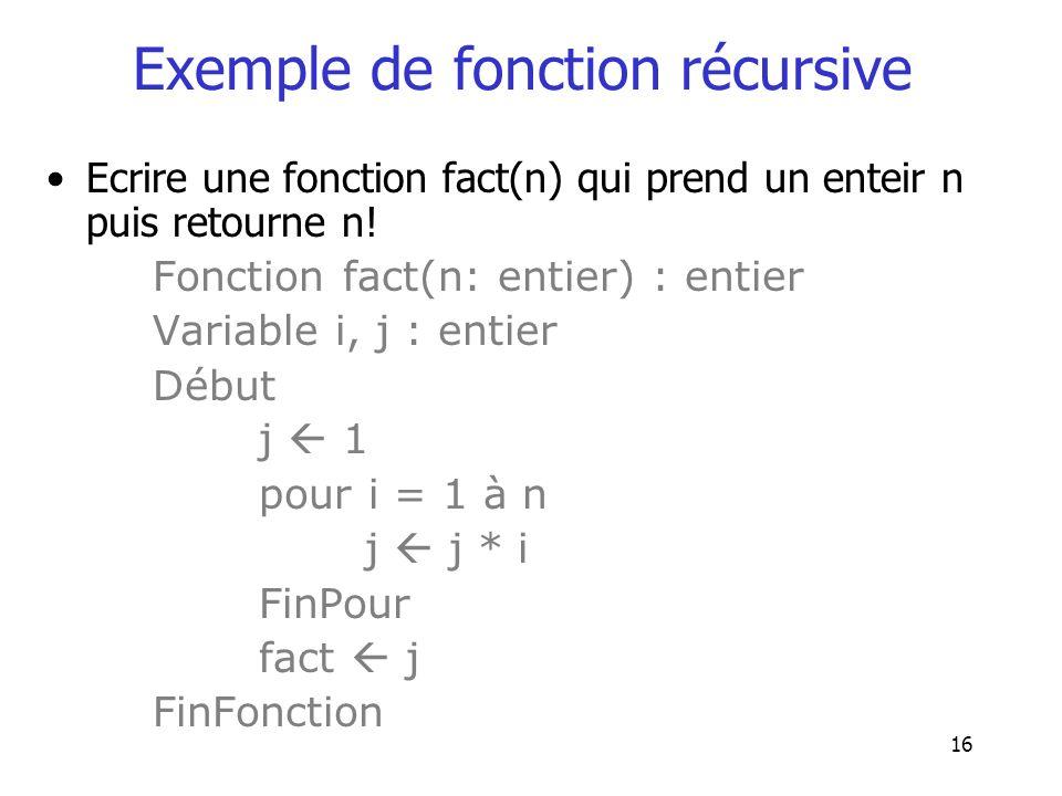 16 Exemple de fonction récursive Ecrire une fonction fact(n) qui prend un enteir n puis retourne n! Fonction fact(n: entier) : entier Variable i, j :