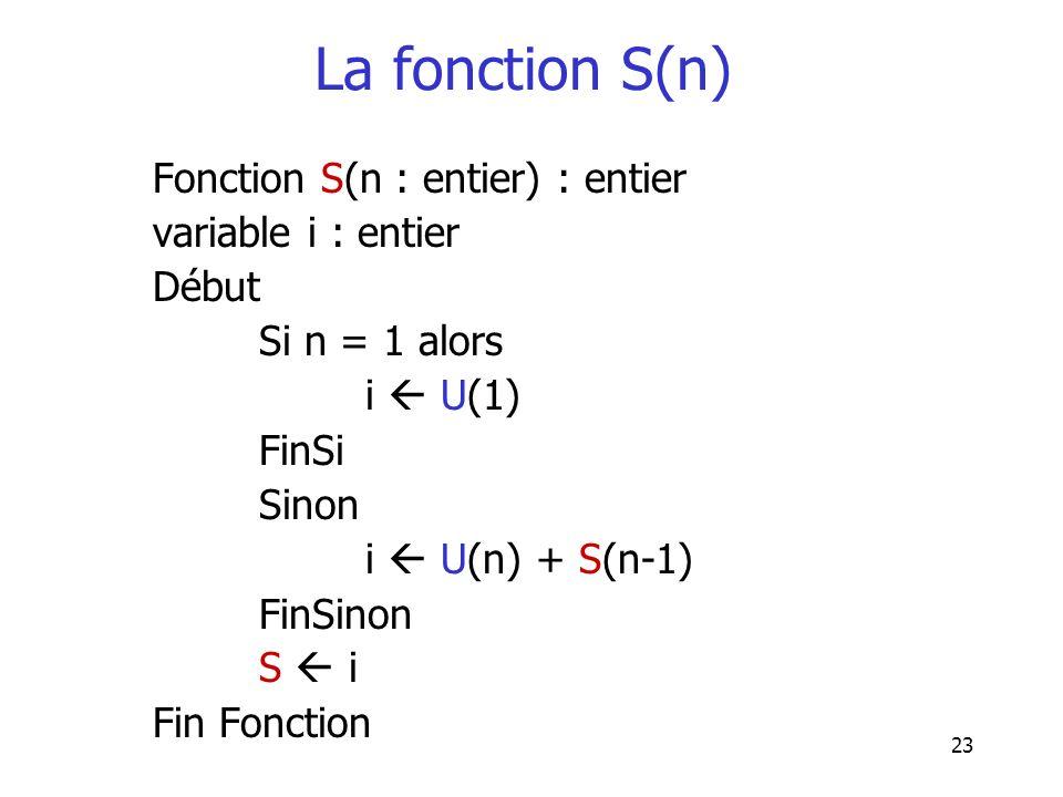 23 La fonction S(n) Fonction S(n : entier) : entier variable i : entier Début Si n = 1 alors i U(1) FinSi Sinon i U(n) + S(n-1) FinSinon S i Fin Fonct