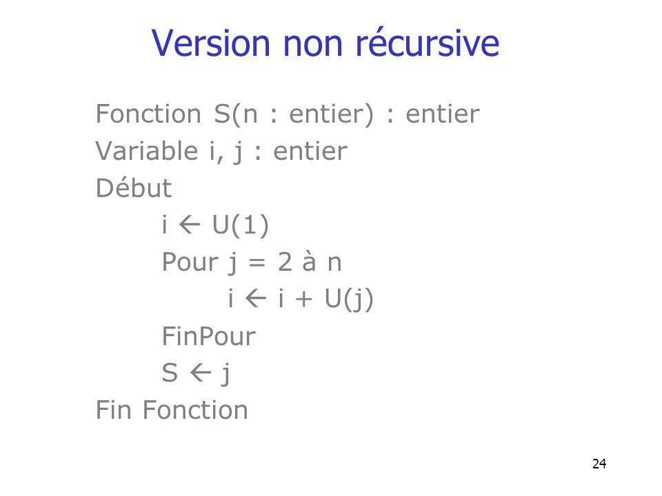 24 Version non récursive Fonction S(n : entier) : entier Variable i, j : entier Début i U(1) Pour j = 2 à n i i + U(j) FinPour S j Fin Fonction