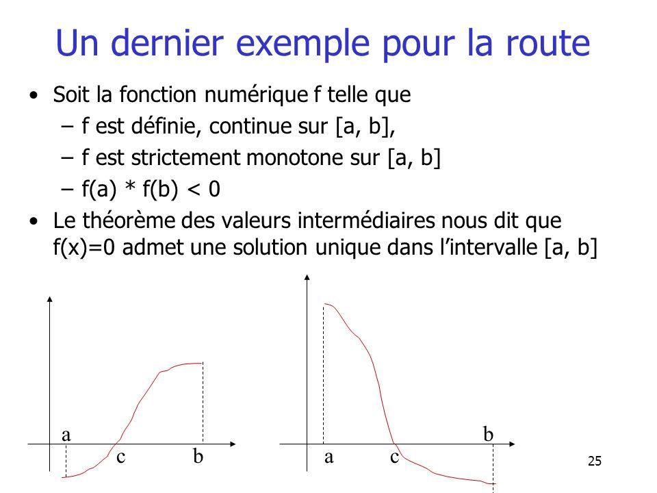25 Un dernier exemple pour la route Soit la fonction numérique f telle que –f est définie, continue sur [a, b], –f est strictement monotone sur [a, b]