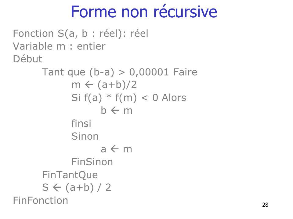 28 Forme non récursive Fonction S(a, b : réel): réel Variable m : entier Début Tant que (b-a) > 0,00001 Faire m (a+b)/2 Si f(a) * f(m) < 0 Alors b m f