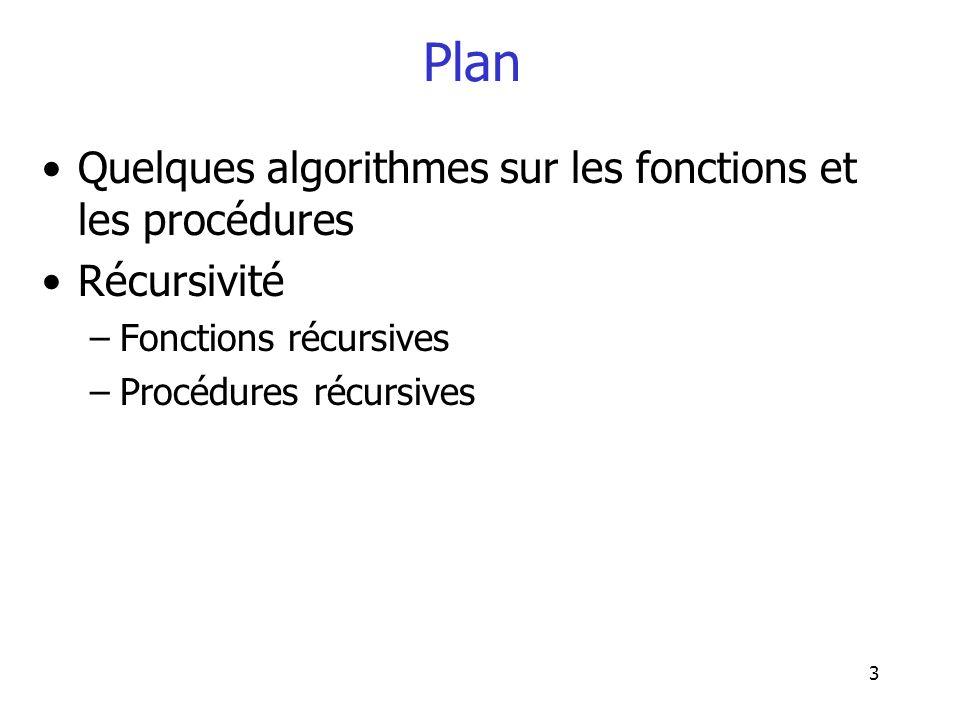14 Algorithme 2 Fonction ValMax(t : tablea[10] dentiers) Début Trier(t) ValMax T(10) Fin Fonction