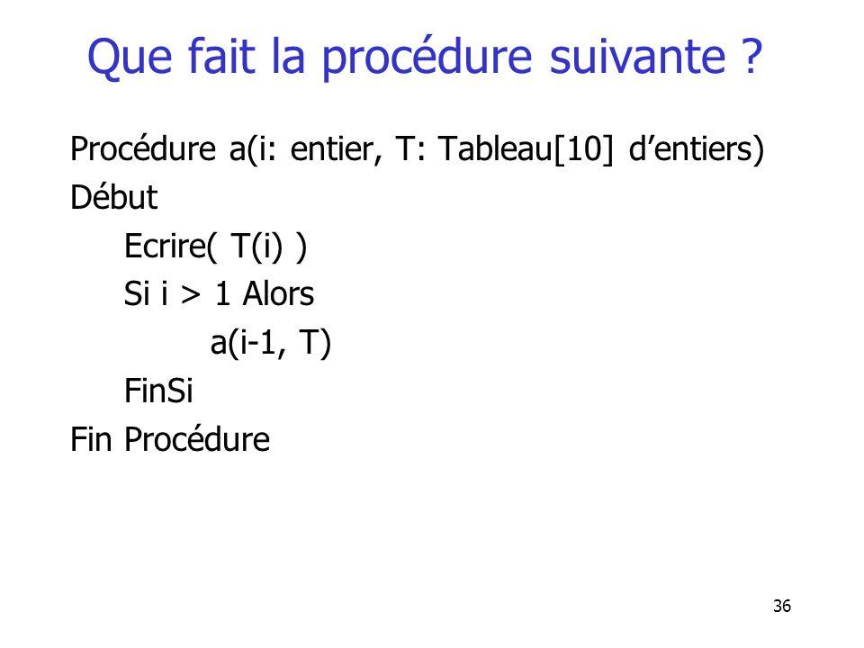 36 Que fait la procédure suivante ? Procédure a(i: entier, T: Tableau[10] dentiers) Début Ecrire( T(i) ) Si i > 1 Alors a(i-1, T) FinSi Fin Procédure