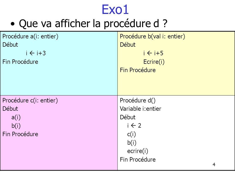 4 Exo1 Que va afficher la procédure d ? Procédure a(i: entier) Début i i+3 Fin Procédure Procédure b(val i: entier) Début i i+5 Ecrire(i) Fin Procédur