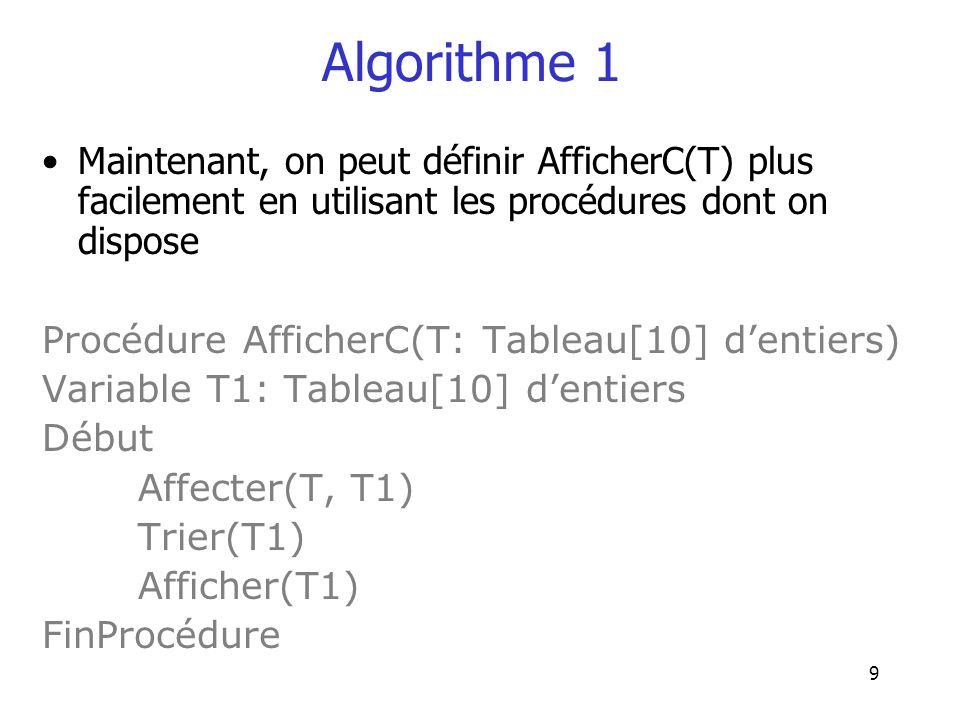 9 Algorithme 1 Maintenant, on peut définir AfficherC(T) plus facilement en utilisant les procédures dont on dispose Procédure AfficherC(T: Tableau[10]
