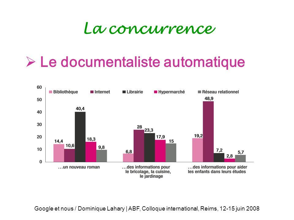 Google et nous / Dominique Lahary | ABF, Colloque international, Reims, 12-15 juin 2008 La concurrence Le documentaliste automatique
