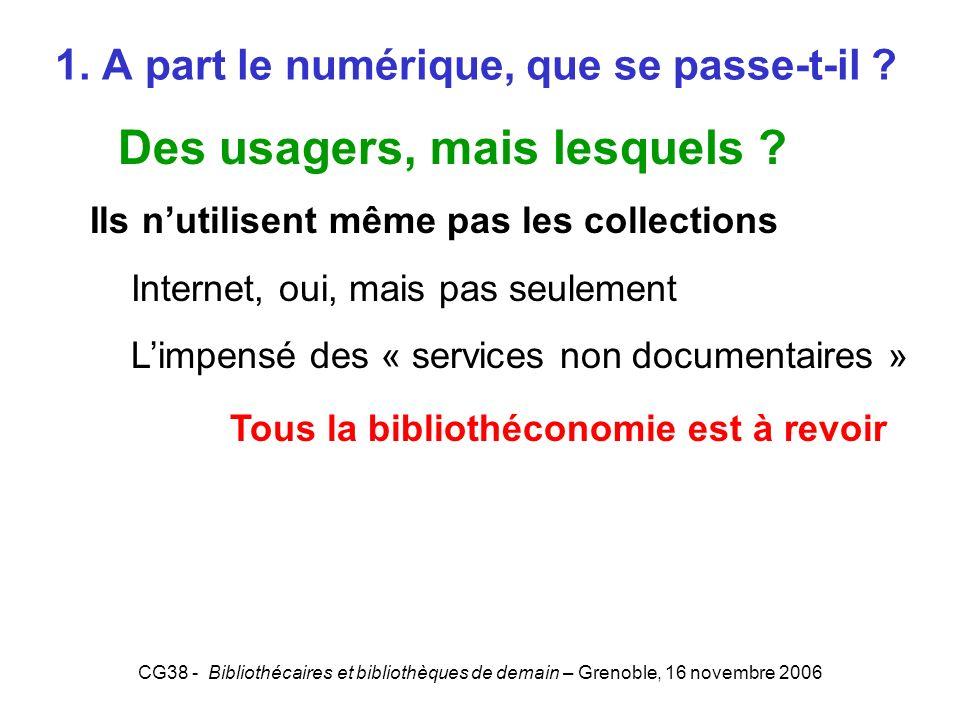 CG38 - Bibliothécaires et bibliothèques de demain – Grenoble, 16 novembre 2006 1. A part le numérique, que se passe-t-il ? Des usagers, mais lesquels