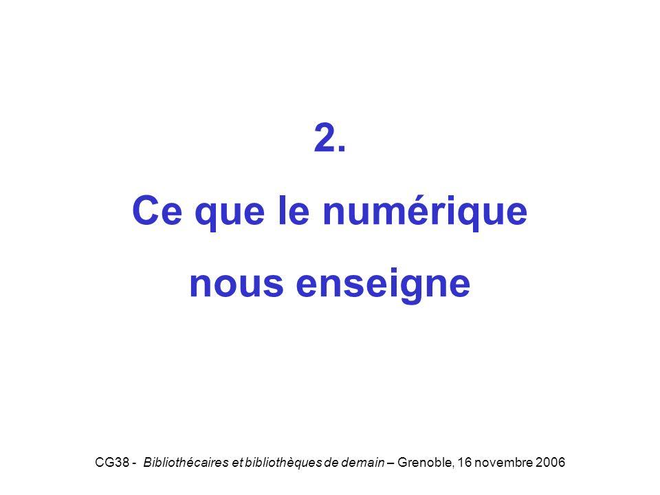 CG38 - Bibliothécaires et bibliothèques de demain – Grenoble, 16 novembre 2006 2. Ce que le numérique nous enseigne 2