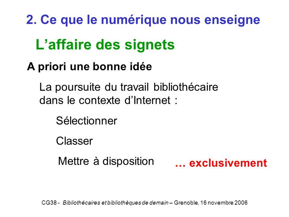 CG38 - Bibliothécaires et bibliothèques de demain – Grenoble, 16 novembre 2006 2. Ce que le numérique nous enseigne Laffaire des signets A priori une