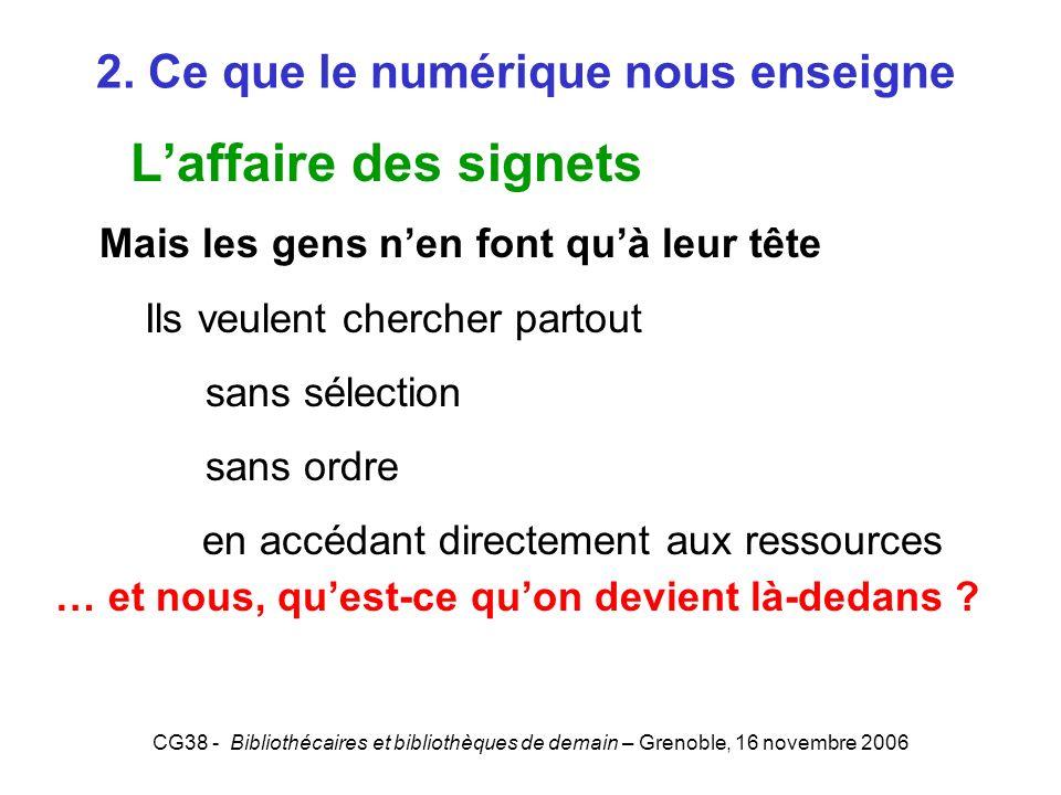CG38 - Bibliothécaires et bibliothèques de demain – Grenoble, 16 novembre 2006 2. Ce que le numérique nous enseigne Laffaire des signets Mais les gens