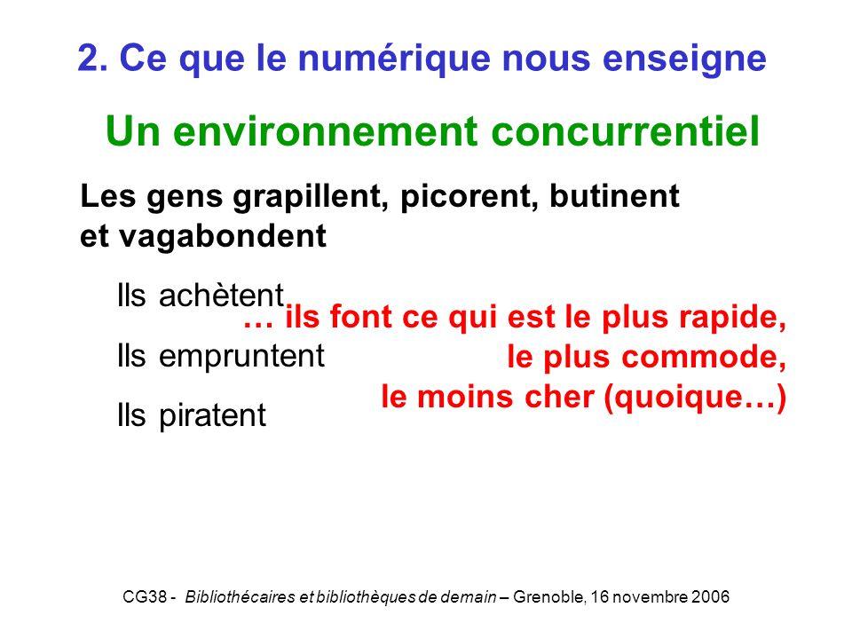 CG38 - Bibliothécaires et bibliothèques de demain – Grenoble, 16 novembre 2006 2. Ce que le numérique nous enseigne Un environnement concurrentiel Les